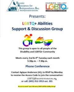 flyer for LGBTQ Abilities Support & Discussion Group